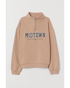 Sweatshirt mit Stehkragen Hellbeige/Midtown