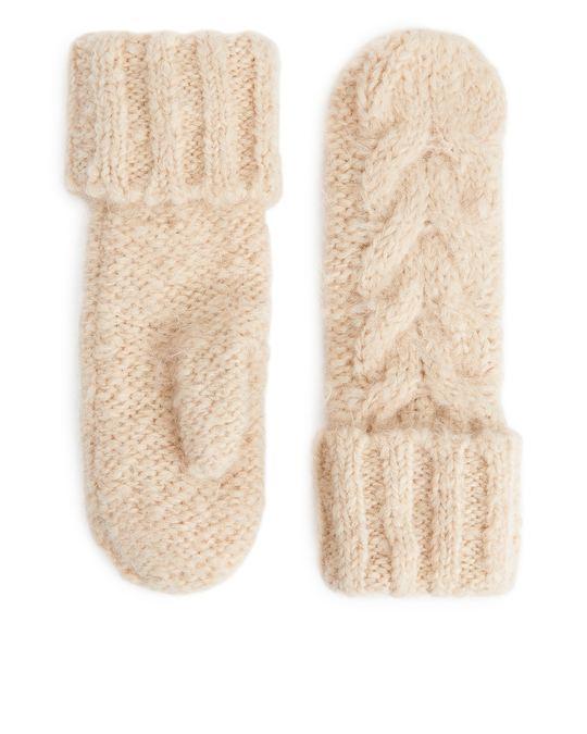 Arket Cable-Knit Mittens Light Beige