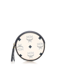 Mcm Visetos Leather Coin Pouch White