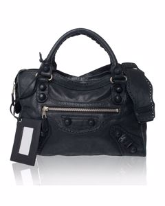 Black Lambskin Leather Covered Giant City Bag