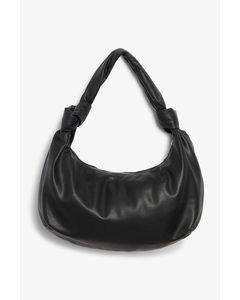 Round Handbag With Knot Detail Black