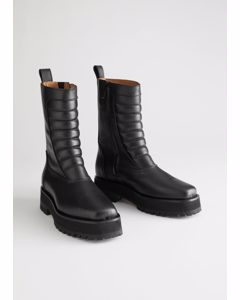 Square Toe Leather Biker Boots Black