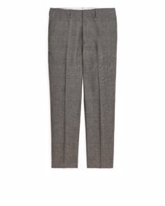 Regular Wool/linen Trousers Beige/check