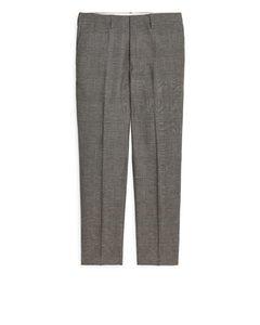 Regular Wool/linen Trousers Beige/check