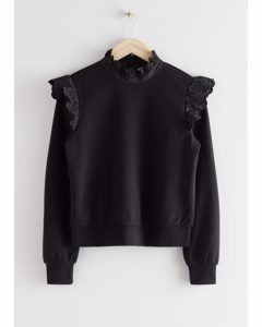 Ruffled Broderie Anglaise Sweater Black