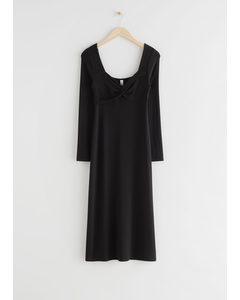 Sweetheart Neck Midi Dress Black