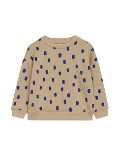 Printed Sweatshirt Beige/blue