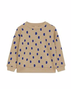 Bedrucktes Sweatshirt Beige/Blau