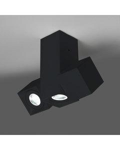 Dau Mat Zwart Satijnen Lampen Met 3 Cubical Cilinders