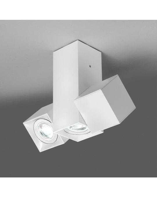MILAN ILUMINACIÓN Dau Matt White Lacquered Aluminium Geometrical Lamps With 3 Cubical Cylinders