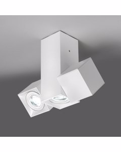 Dau Mat Wit Gelakte Lampen Met 3 Cubical Cilinders