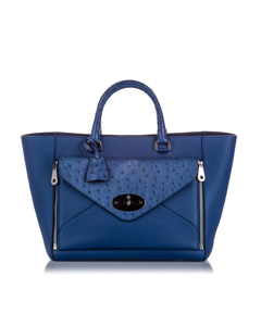 Mulberry Ostrich-trimmed Willow Tote Bag Blue