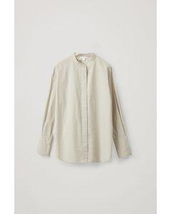 Collarless Shirt Mole Grey