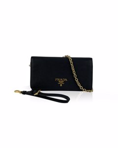 Prada Black Saffiano Leather Continental Wallet On Chain 1dh029