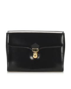 Ysl Leather Clutch Bag Black