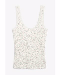 Pointelle Fitted Singlet Pink Floral Print