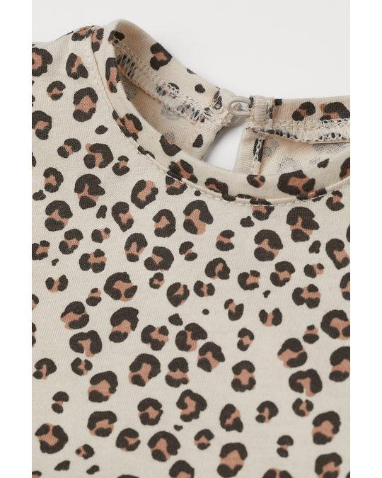 H&M 2-piece Cotton Set Light Beige/leopard Print