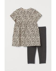 2-teiliges Baumwollset Hellbeige/Leopardenmuster