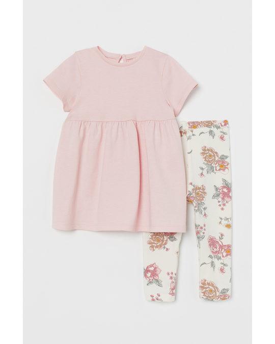 H&M 2-piece Cotton Set Light Pink/floral