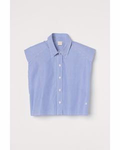 Bluse mit Schulterpolstern Blau/Weiß gestreift