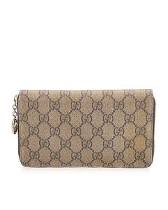Gucci Gg Supreme Zip Around Long Wallet Brown