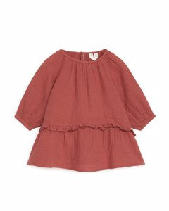 Relaxed Frill Dress Terracotta