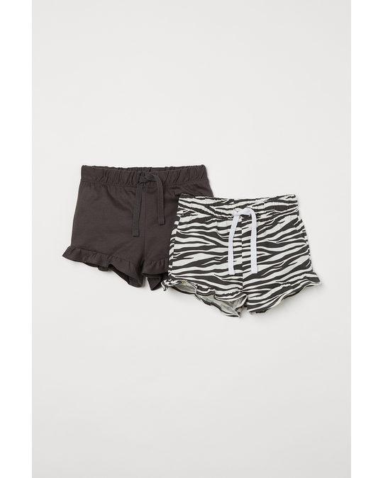 H&M 2-pack Flounce-trimmed Shorts Dark Grey/zebra Print