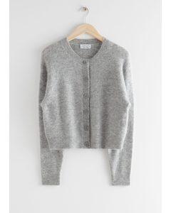 Fuzzy Button Up Cardigan Grey