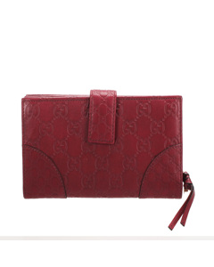 Gucci Guccissima Leather Long Wallet Red