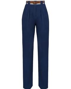 Navy Blue Straight Leg Crepe Pants
