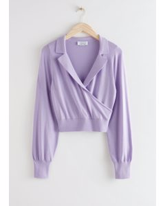 Fitted Cropped Wrap Sweater Lilac