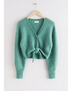 Cropped Boxy Front Tie Cardigan Green
