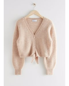 Cropped Boxy Front Tie Cardigan Beige