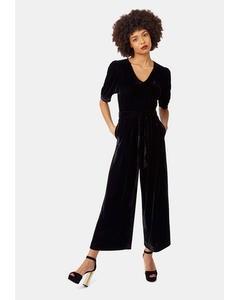 Short Sleeve Velvet Hetty Jumpsuit In Black