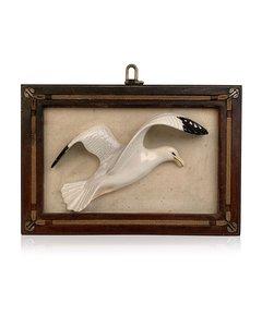 Gucci Vintage Framed Porcelain 3d Sculpture Seagull Wall Hanging