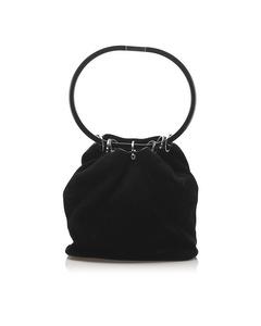 Gucci Hoop Suede Bucket Bag Black