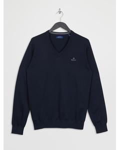 Classic Cotton V-neck Evening Blue