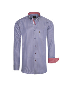 Cappuccino Italia Regular Fit Overhemd Navy Striped Blauw
