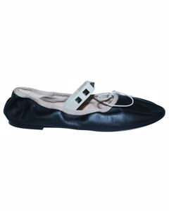 Black Leather Ballerinas With Studded Strap