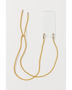 Iphone Mobilskal Med Halsband Transparent/mörkgul