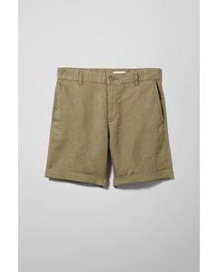 Mash Linen Shorts Khaki Green