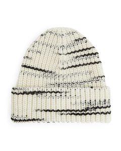 Chunky Wool Beanie Off White/black