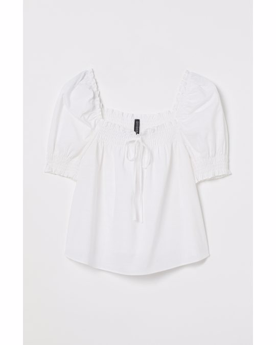 H&M Puff-sleeved Cotton Blouse White