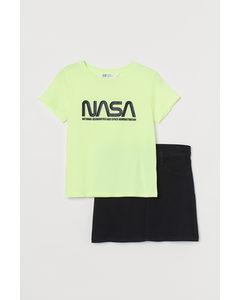 2-teiliges Set mit Druck Neongelb/NASA