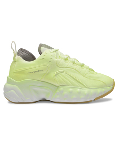 Manhattan Overdyed Sneakers In Fluo Yellow Leather