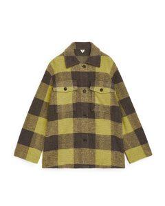 Overshirt aus Wollmischung in Oversized-Passform Gelb/braun