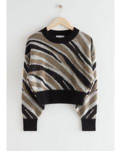 Alpaca Blend Knit Sweater Zebra