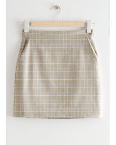 Mini Pencil Skirt Beige Checks