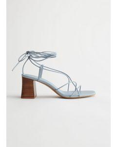 Strappy Block Heel Leather Sandals Light Blue