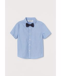 Skjorta Med Slips/fluga Blå/fluga